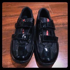 Prada.Authentic.7.5 patent leather Velcro shoe